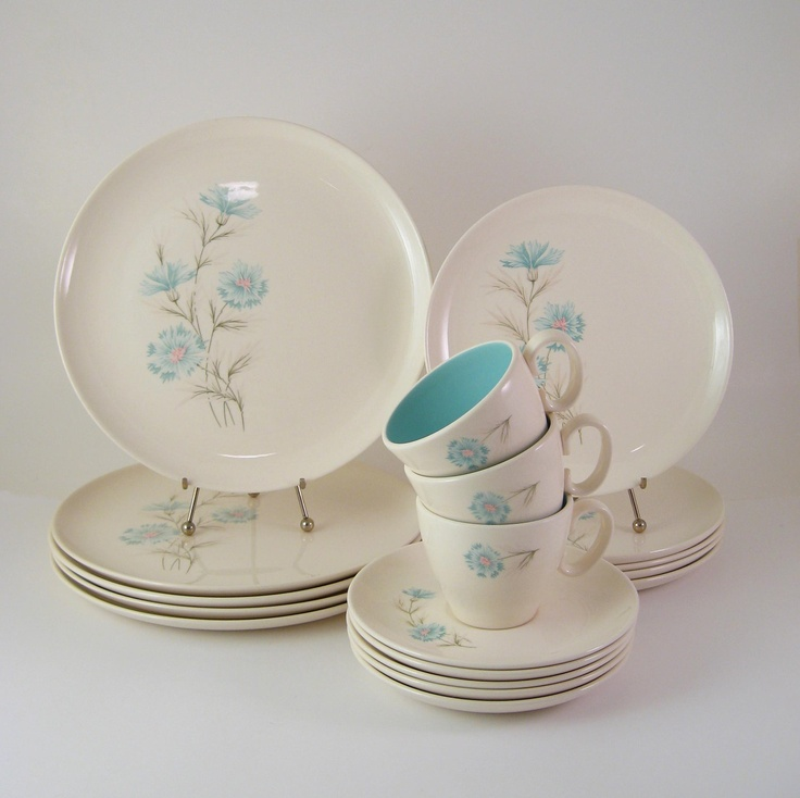 Vintage Dinnerware Set, Taylor Smith & Taylor, Ever Yours Boutonniere, Mid-Century Dishes, 1960's. $54.00, via Etsy.
