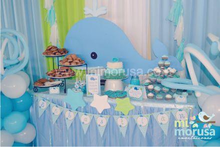 Mi morusa arte digital decoracion ballenita baby shower - Decoracion de baby shower nino ...