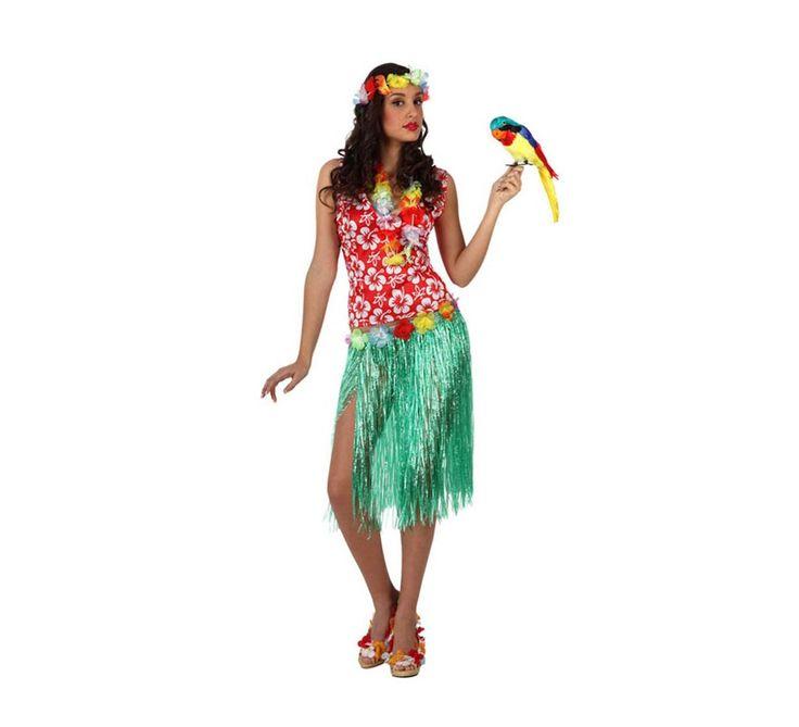 #Disfraz de #Hawaiana para mujer. Incluye falda, camisa, collar y cinta del pelo. #fiestahawaiana #despedidadesoltera #hawai #hawaii #verano