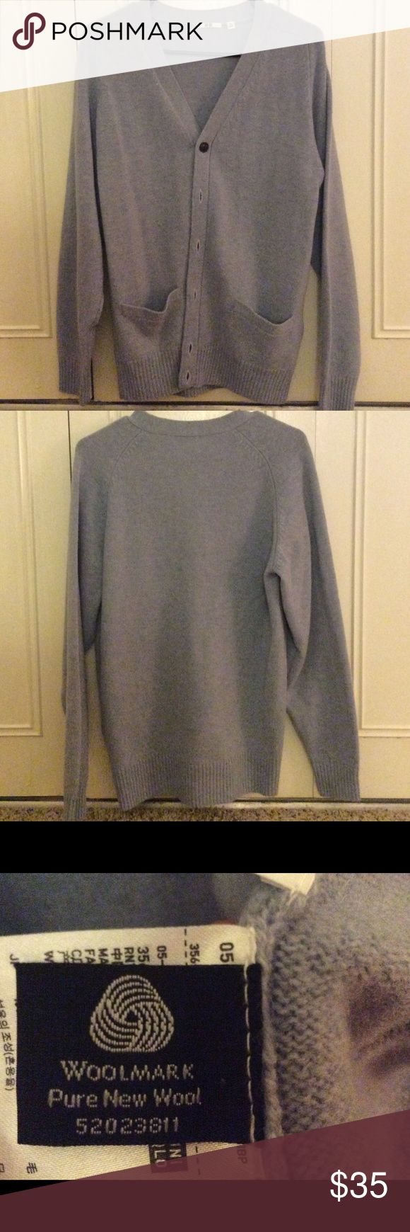 UNIQLO cardigan NEW!!!!! Sky blue color💙 Pure new wool!!!!!! Uniqlo Sweaters Cardigans