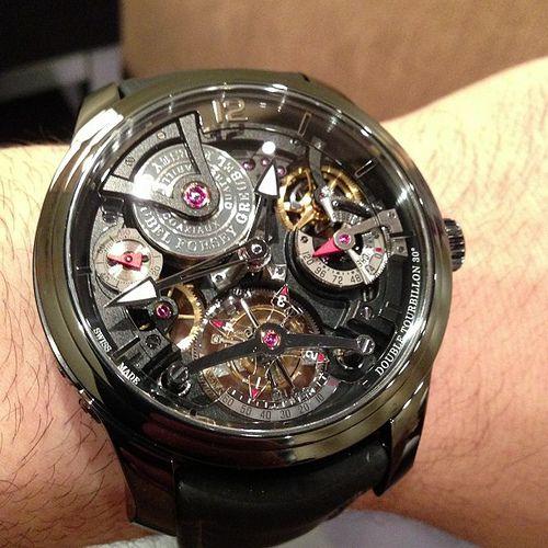 Greubel Forsey Double Tourbillon Technique black in titanium #watch super light, beautiful and almost $500,000 #tourbillon #ablogtowatch #sihh #watchporn #instawatches #greubelforsey