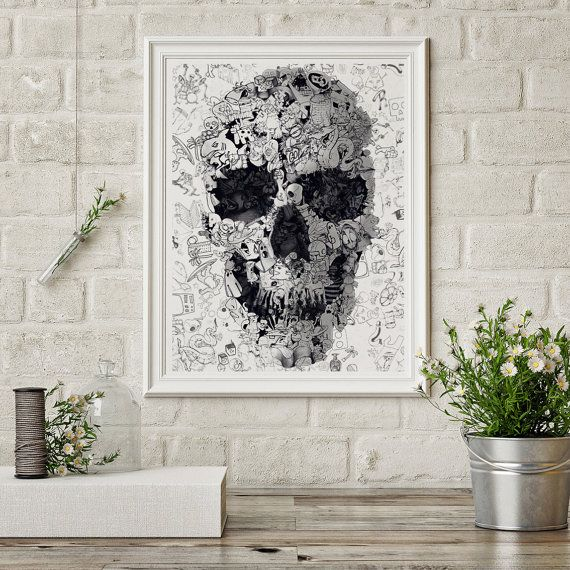 Doodle Skull Printable Digital Art File // 8x10 by ikiikiDigital