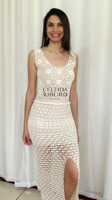 Celeida Ribeiro: Vestido de crochê!