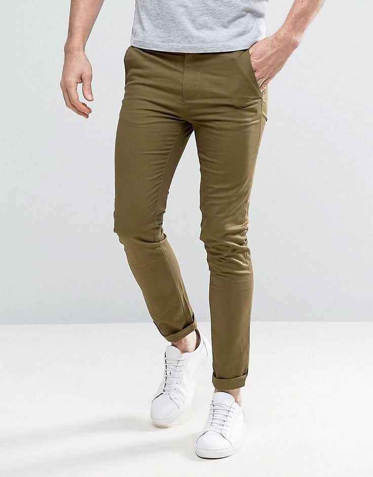 NEW LOOK SKINNY FIT CHINOS IN LIGHT KHAKI - GREEN. #newlook #cloth #