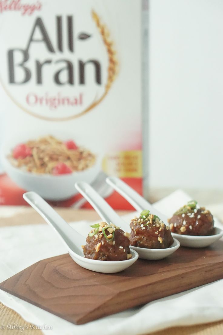 Light Asian Holiday Cocktail Meatballs that are low in fat, high in fibre using mushrooms and all bran cereal and a hoisin apple glaze