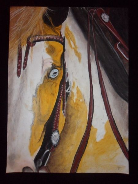 DESSIN cheval chevaux western cow boy Animaux Pastel  - easy boy