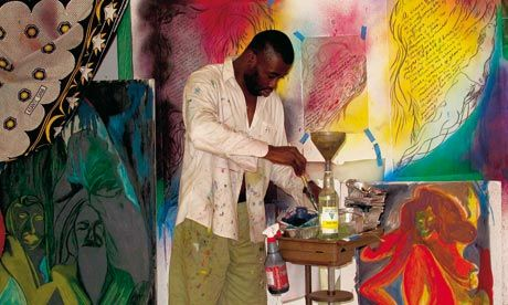 Chris Ofili: 'The studio is a laboratory, not a factory.' Photograph: Horace Ové
