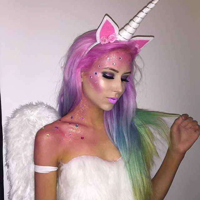 With Halloween just two weeks away, most people have already found their killer costume, or at least halfway to deciding on one. But if you're still lost on what to rock up as at this year's Halloween party, fear no more. this unicorn costume is the outfit this Halloween, featuring a white body, glitter makeup, a unicorn horn and rainbow hair.