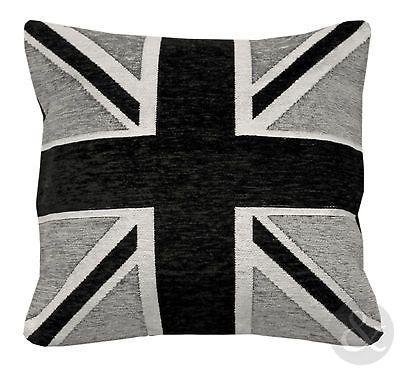 Юнион Джек Флаг Роскошные шениль подушки Черный Серый Белый Точечная наволочки