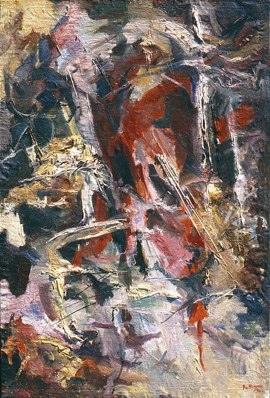 Владимир Немухин (Родился в 1925 году) - Композиция, 1960. Холст, масло (197,6х134,8 см). The Norton and Nancy Dodge Collection of Nonconformist Art from the Soviet Union