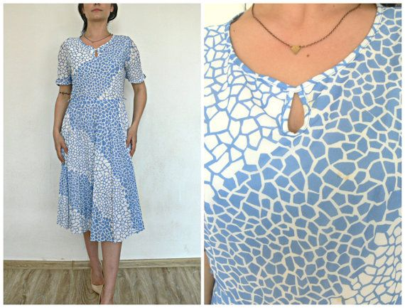 REAL Vintage  Dress from 60' or 70'  BLUE with print