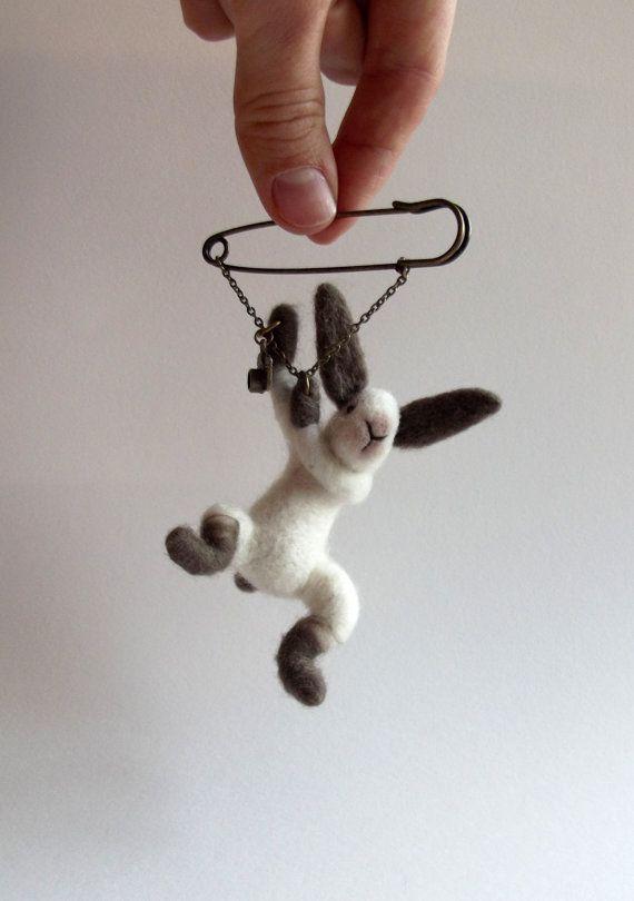 hanging Bunny with camera, Animal Brooch, Rabbit Jewelry