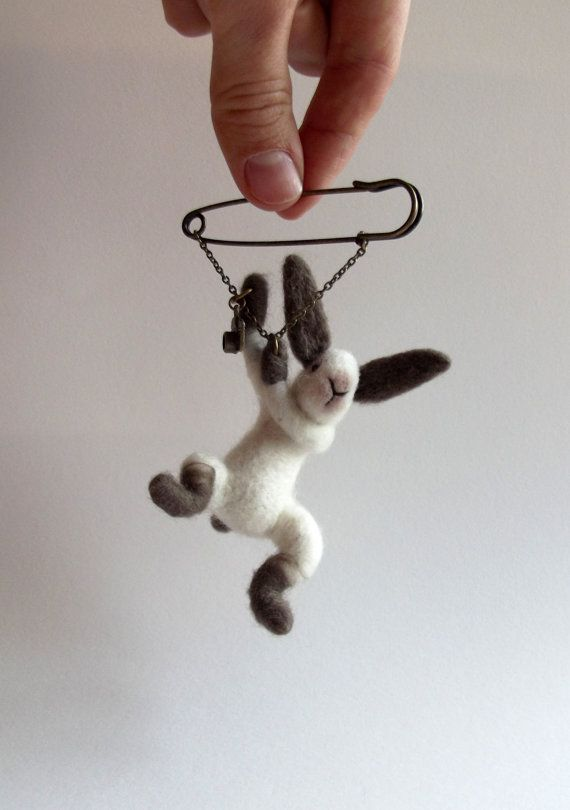 hanging Bunny with camera Animal Brooch Rabbit by ShishLOOKdesign