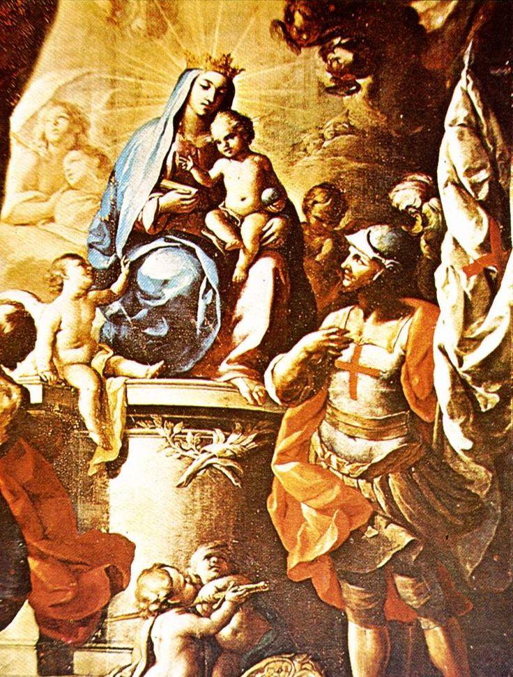 La Virgen de Gracia ante un caballero de Montesa. Retablo en la Iglesia del Temple (Valencia). La Virgen aparece con atributos regios y sobre el Pilar zaragozano. El caballero montesino le rinde homenaje, como un vasallo a su soberana. La iglesia del Temple de la capital valenciana, perteneciente a los templarios, fue entregada a la Orden de Santa María de Montesa, creada por el rey Jaime II.