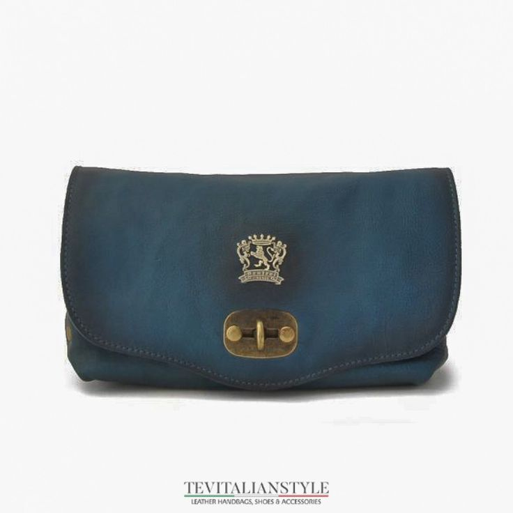 Blue Pratesi Castel del Piano women's leather shoulder bag Handmade in Italy