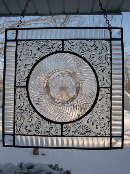 Stained Glass Panels With Depression Glass Plates