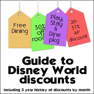 Guide to Disney World discounts, including charts of what discounts have been offered each month