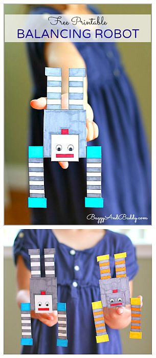 Science for Kids: Balancing Robot FREE Printable- Fun STEM activity for exploring balance and center of gravity! Great boredom buster or fun for a rainy day. ~ BuggyandBuddy.com