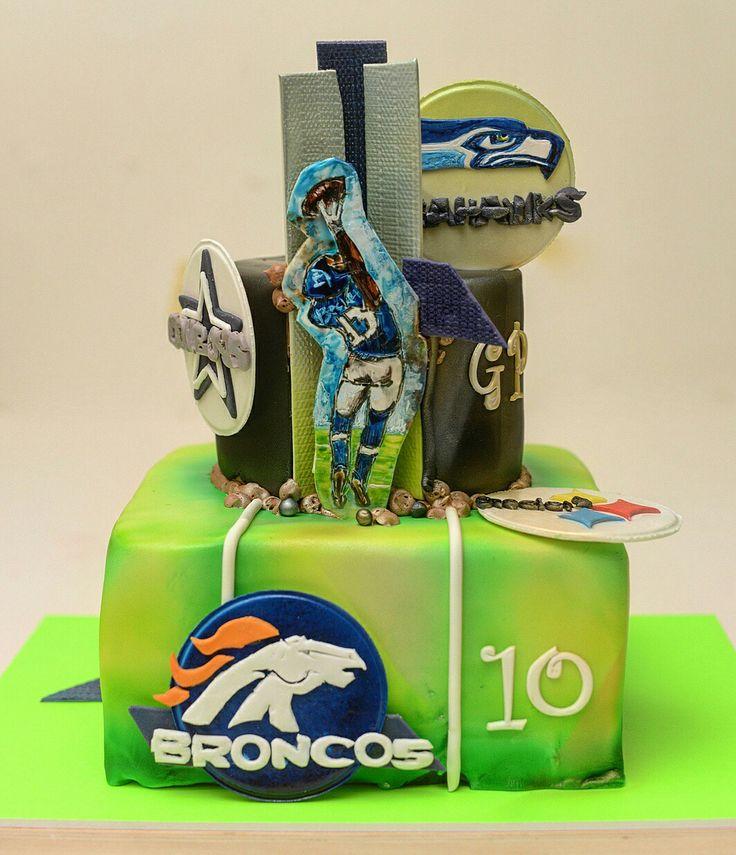 NFL B-Day cake defy gravity #Beckham #number13 #Seahawks #cowboys #Steelers #Broncos #nfl🏈 #bdayboy #10th #chocolateganache #chocolatecake #friends #family #wantcake? #fondant #handpainted #airbrushed