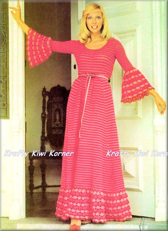 Crochet Vintage 1970s Boho Maxi vestido con por KraftytKiwiKorner