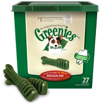 The doggies love these!!  GREENIES canine dental chews for total oral health solution