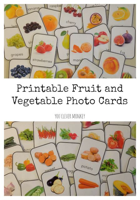 Create a print rich environment for your classroom or homeschool with these beautiful photo fruit and vegetable printable cards | youclevermonkey