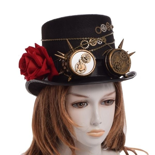 Seampunk Gothic Hat Vintage Cosplay Victorian Hat Feathers Skull Gear Unisex