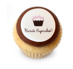 Personalize your cupcakes with monograms, photos, or a corporate logo. Placed on a round sugar decoration that's edible!