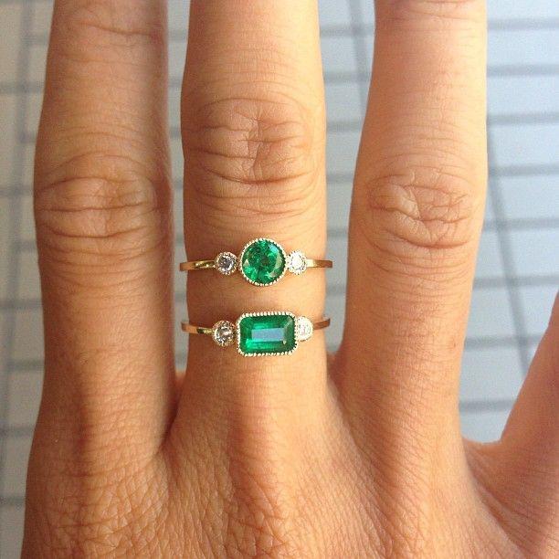 Jennie Kwon Designs / Emerald and Diamond Rings via @Jennie Kwon Designs