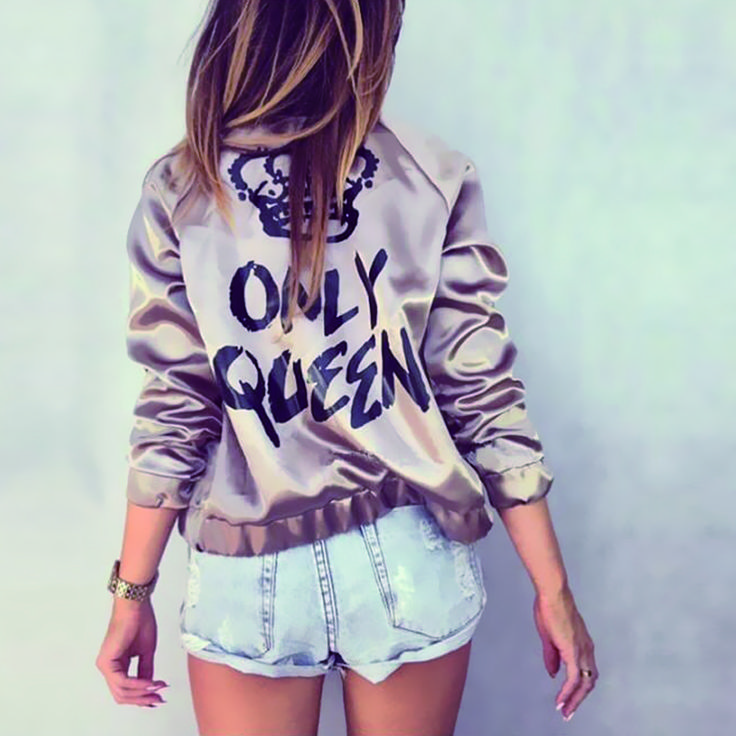 "New Fashion Bomber Jacket  Letter Print ""Only Queen"" Glossy Women Souvenir Jacket Coat Casual Baseball Jacket Women Basic Coats"