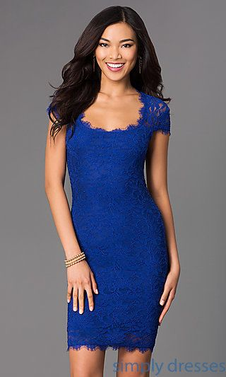 Short Lace Cap Sleeve Dress to wear as a wedding guest. :)