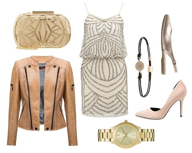handbag, dress, gold watch, leather jacket - Erin - Verssen, high heels, ballerinas, bracelet