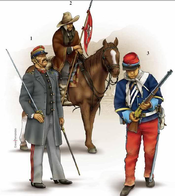 Los Nº 1 y 3 pertenecen al Cazadores del Rímac, del coronel Sevilla. De hecho, la nº 1 representa a ese coronel. La unidad tenía 2 escuadrones, uno de lanceros y otro de fusileros montados. A ese pertenece la Nº 3. Los fusileros montados