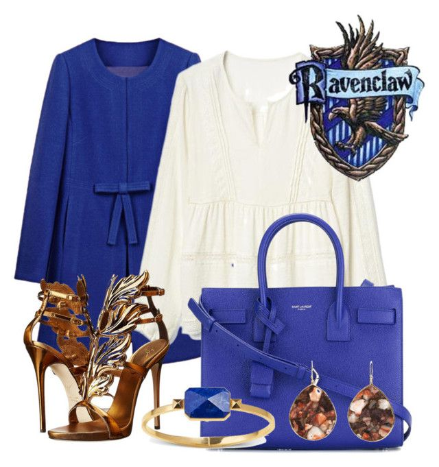 """Ravenclaw inspired outfit"" by hogwartsinspired on Polyvore featuring WithChic, Gap, Yves Saint Laurent, Giuseppe Zanotti, Ringly and Ippolita"