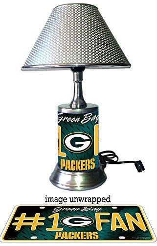 Green Bay Packers Lamp With Chrome Shade Number One Fan