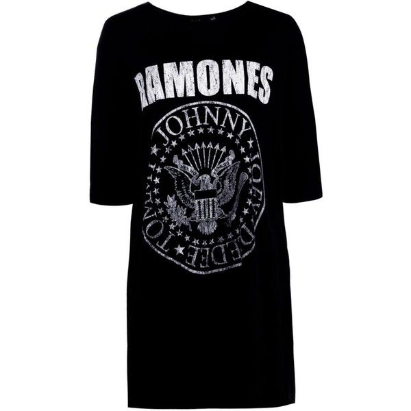 Boohoo Harley Ramones T-Shirt Dress ($22) ❤ liked on Polyvore featuring dresses, bodycon midi dress, t shirt dress, party dresses, skater dresses and maxi dress