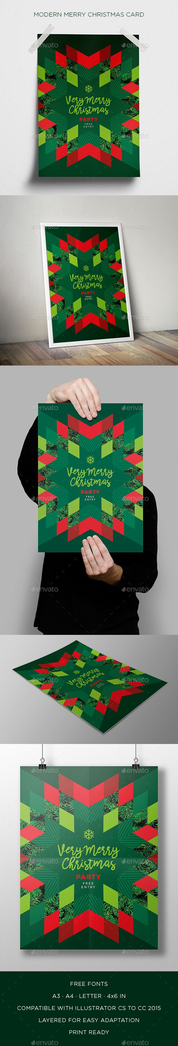 Modern Merry Christmas Card - Cards & Invites Print Templates Download here: https://graphicriver.net/item/modern-merry-christmas-card/19002777?ref=alena994