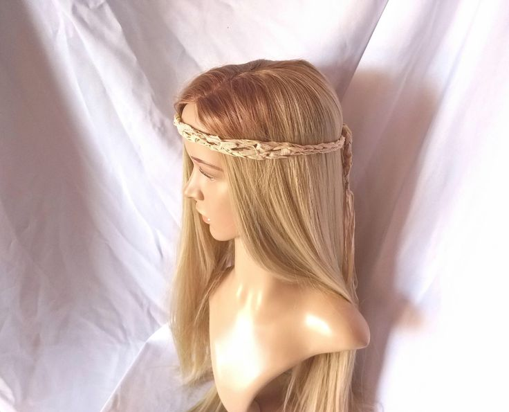Tan skinny headband Summer crochet Sand lavender hair tie back Boho hair accessory Rockabilly scarf Hippie hair ribbon Grecian minimalist by 910woolgathering on Etsy https://www.etsy.com/listing/245927335/tan-skinny-headband-summer-crochet-sand