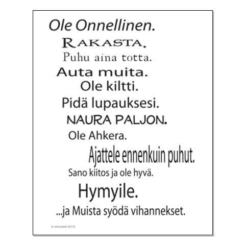 Ole Onnellinen - Juliste - http://sisustusullakko.com/tuote/ole-onnellinen-juliste