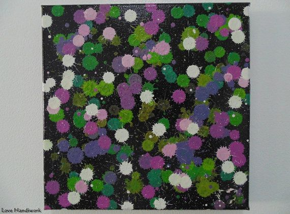 White Green & Purple on Black Abstract Square by LoveHandyWork