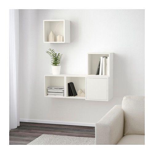 EKET Kastencombinatie voor wandmontage IKEA Toon of verberg je bezittingen naar wens door open en dichte opbergers te combineren.