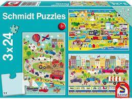 Puzzle 3x24 - Χρωματιστά οχήματα
