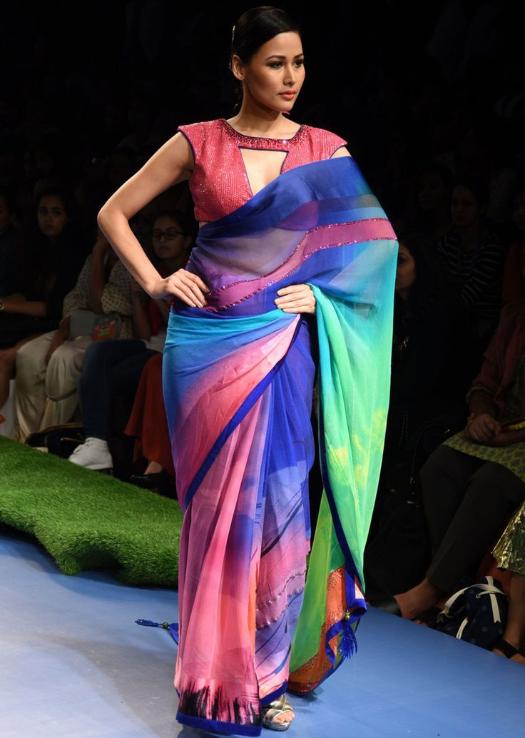 Model walks the ramp in multi color saree for Gauri Khan's collection A Tropical Wonder for Satya Paul at Lakme Fashion Week Summer Resort 2015