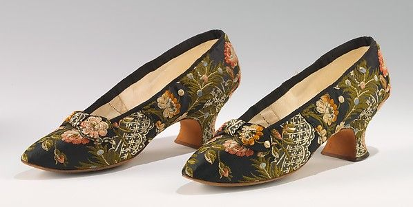 Evening slippers Designer: J. Ferry Date: 1880 Culture: French Medium: silk Dimensions: 4 1/2 x 9 in. (11.4 x 22.9 cm) Credit Line: Brooklyn Museum Costume Collection at The Metropolitan Museum of Art, Gift of the Brooklyn Museum, 2009; Gift of Mrs. Frederick H. Prince, Jr., 1967