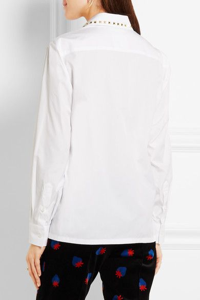 Valentino - Studded Cotton-poplin Shirt - White - IT42