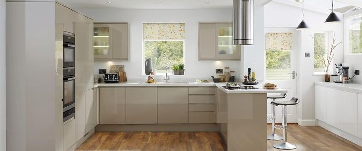 Kitchen units and worktop - Gloss Stone Integrated Handle