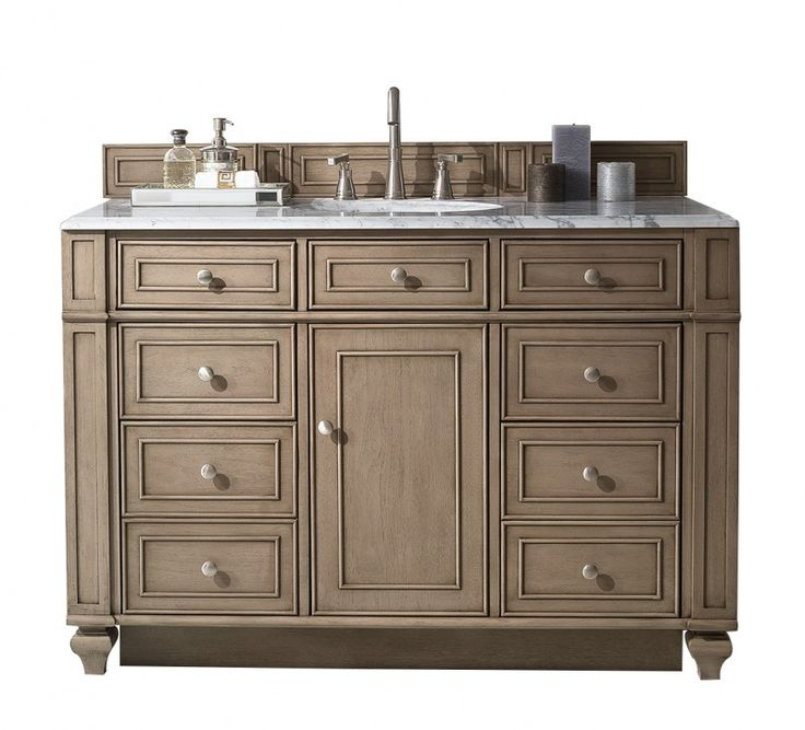 48 Inch Antique Single Sink Bathroom Vanity Whitewashed Walnut Finish