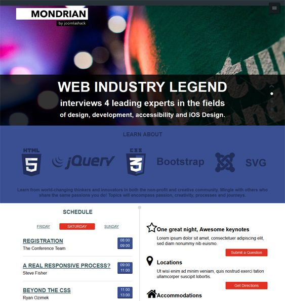 This free one page Joomla template comes with 2 color schemes, a flat design, 11 module positions, 4 module styles, Bootstrap integration, and more.