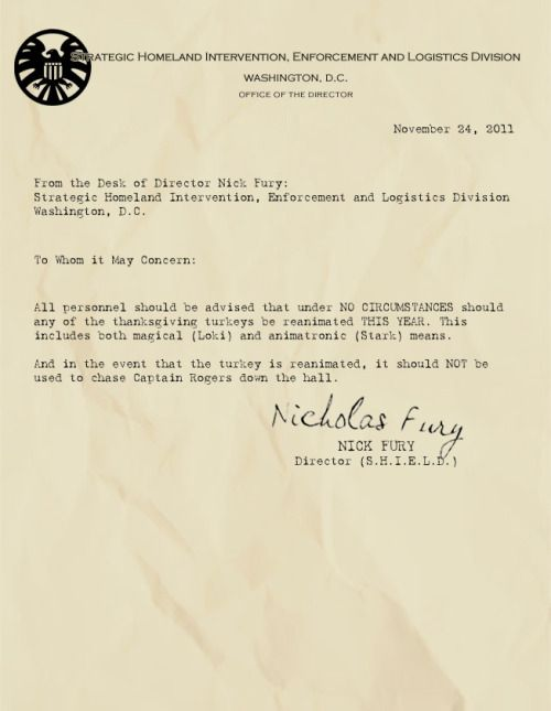 Memos from Fury:  All personnel should be advised that under NO CIRCUMSTANCES should any of the thanksgiving turkeys be reanimated THIS YEAR. This includes both magical (Loki) and animatronic (Stark) means. And in the event that the turkey is reanimated, it should NOT be used to chase Captain Rogers down the hall.