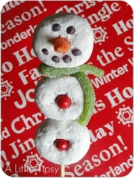 Donut snowmen treats Christmas Party edible craft idea